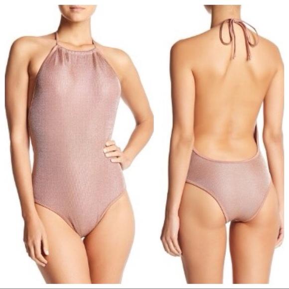 9eb7ffc7d76 Sam Edelman Swim | Metallic Mesh Halter Onepiece Suit | Poshmark